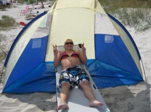Här i tältet låg jag bra!
